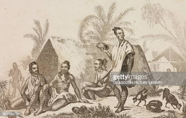 Natives in a village in the Caroline Islands Polynesia engraving by Danvin and Monin from Oceanie ou Cinquieme partie du Monde Revue Geographique et...