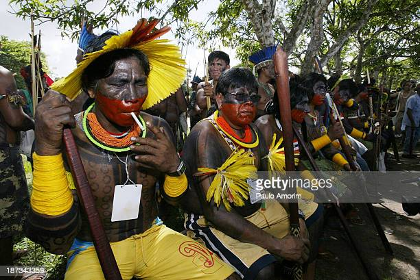 Natives of several tribes take part in an ceremony to bring attention to saving the Amazon forest in Belem, in Para, in the heart of the Brazilian...