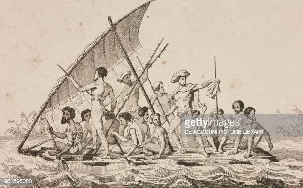 Natives of the Gambier Islands on a raft Polynesia engraving by Danvin and Lebas from Oceanie ou Cinquieme partie du Monde Revue Geographique et...