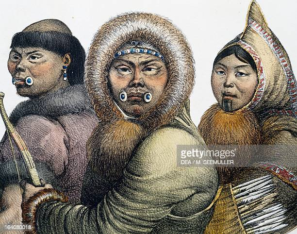 Natives of the Gulf of Kotzebue, illustration from Picturesque voyages around the world, by Louis Choris from the expedition of 1815-1818 led by Otto...
