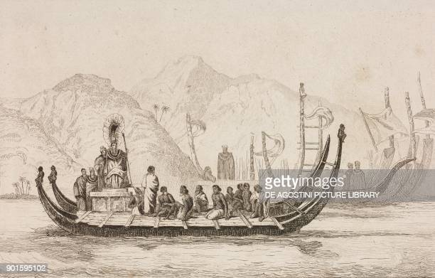 Natives on a boat with one of the Krusenstern islands in the background Polynesia engraving by Danvin and Monin from Oceanie ou Cinquieme partie du...