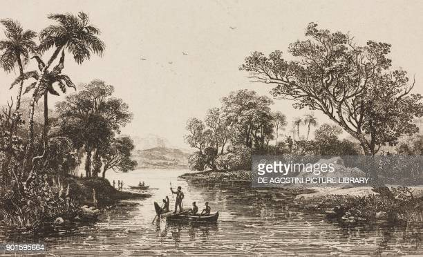 Natives on board of a canoe view of the Admiralty Islands engraving by Danvin and Thieron from Oceanie ou Cinquieme partie du Monde Revue...
