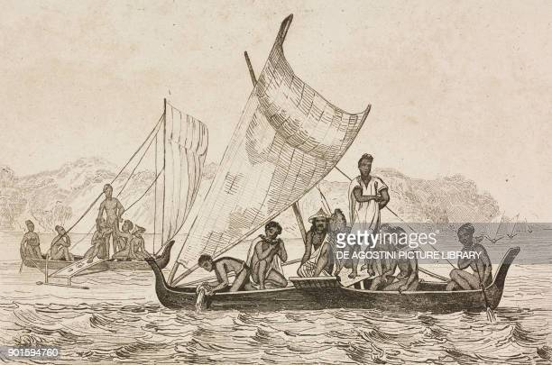 Natives on boats Caroline Islands Polynesia engraving by Danvin and Monin from Oceanie ou Cinquieme partie du Monde Revue Geographique et...
