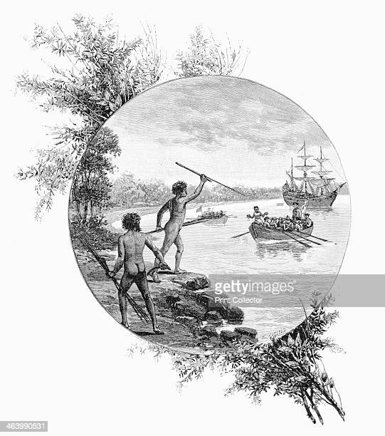Natives opposing Captain Cook's landing Australia 1770 Wood engraving from 'Picturesque Atlas of Australasia Vol I' by Andrew Garran illustrated...