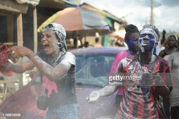 Natives show excitement during the annual Ogun Festival in the ancient town of Ondo in Ondo State Nigeria on Sunday 15th September 2019 The festival...