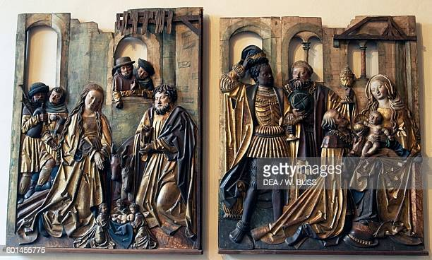Nativity and Adoration of the Magi wooden basrelief Germany Monaco Bayerisches Nationalmuseum