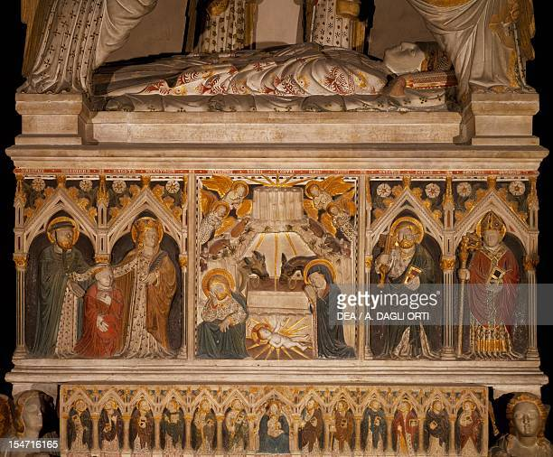 Nativity and Saints 14021405 detail from the tomb of Arrigo Minutolo painted marble by artists of the School of Rome moved to Naples with Antonio...