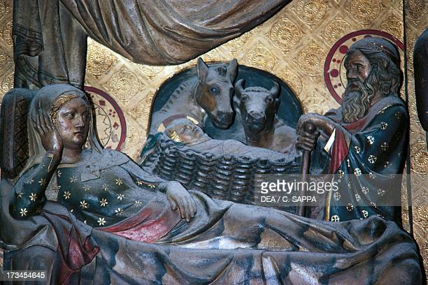 Nativity basrelief on the choir with Stories from the Life of Christ by Jean Ravy NotreDame Cathedral Paris IledeFrance France