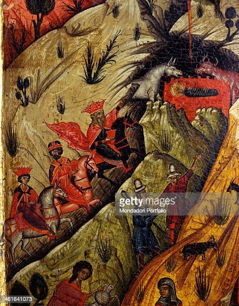 Nativity by Nikolla tempera on wood Albania Berat Onufri Museum Detail Detail of the journey of the Magi from the iconostasi of the Assumption of...