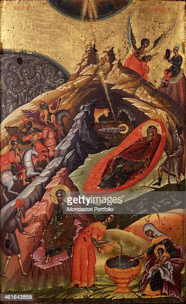 Nativity by Onufri Qiprioti 17th Century tempera on wood Albania Korça National Museum of Medioeval Art Whole artwork view In the upper left part...