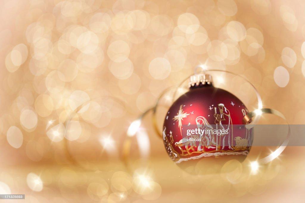Nativity Christmas Ornaments on Gold : Stock Photo