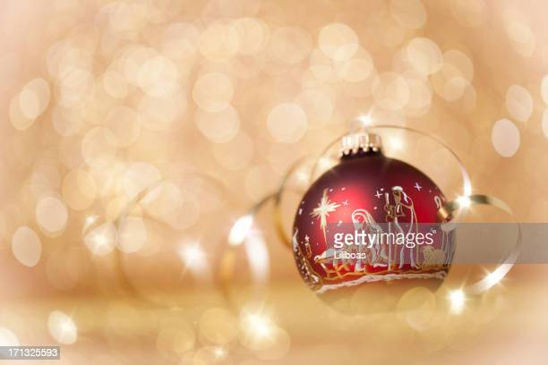 nativity christmas ornaments on gold - manger stock photos and pictures