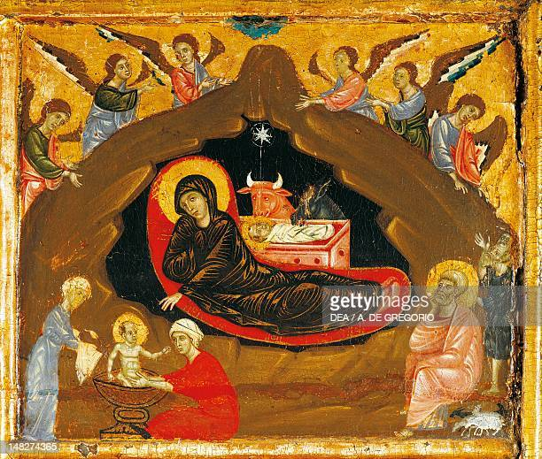 Nativity detail from the Antependium of St Peter Enthroned ca 1280 by Guido da Siena tempera and gold on wood 100x141 cm Siena Pinacoteca Nazionale...