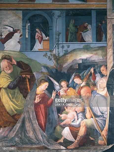 Nativity fresco by Gaudenzio Ferrari Church of St Christophe Vercelli Italy 16th century