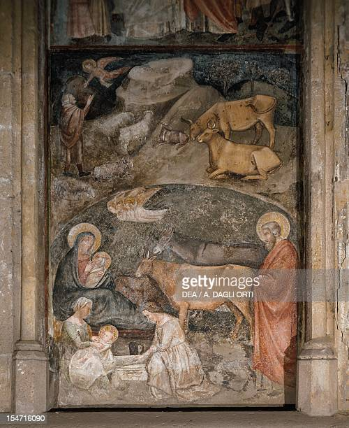 Nativity fresco by the School of Cavallini Basilica of San Lorenzo Maggiore Naples Campania Italy 14th century