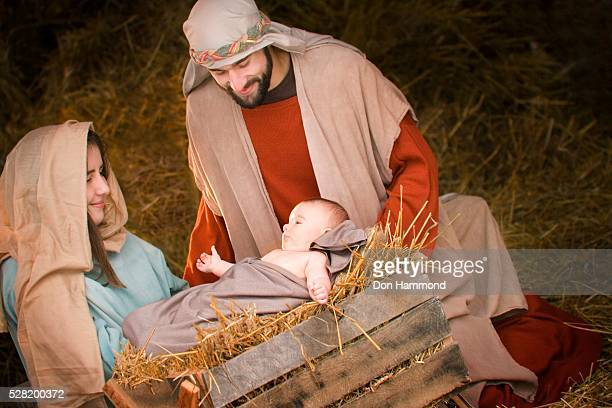 nativity of jesus christ - holy family jesus mary and joseph stock photos and pictures