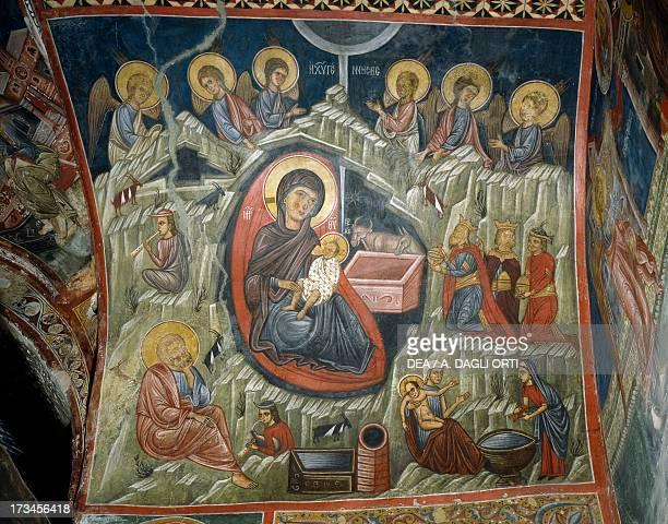 Nativity of Jesus fresco Church of Ayios Nikolaos tis Steyis Troodos mountains Cyprus