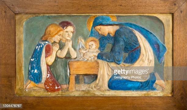 Nativity panel in plaster with blessed Virgin Mary baby Jesus and two children by Ellen Mary Rope , Church of Saint Margaret, Leiston, Suffolk,...