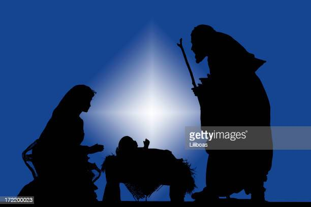 nativity (photographed silhouette) - holy family jesus mary and joseph stock photos and pictures