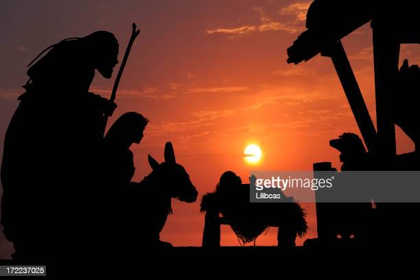 nativity (photographed silhouette) - manger stock photos and pictures