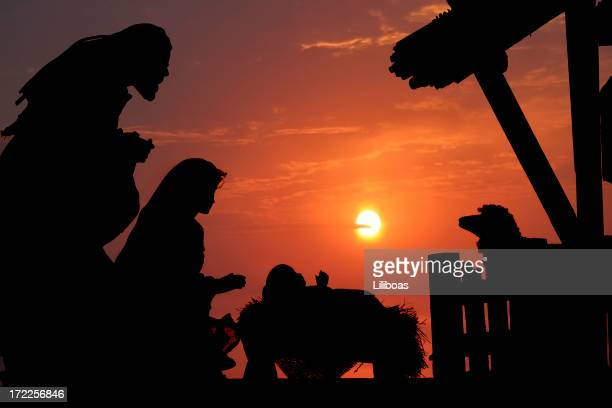 nativity (photograph silhouette) - manger stock photos and pictures
