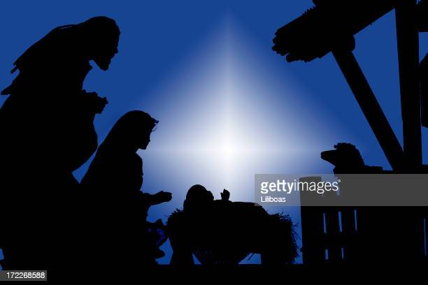 nativity (photograph silhouette) - jesus birth stock photos and pictures