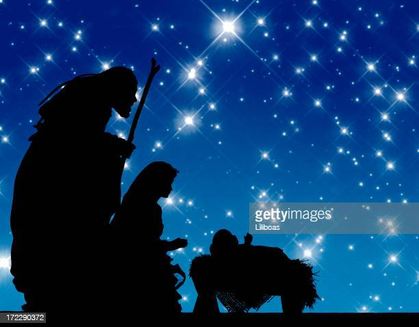 nativity (photograph silhouette) - jesus christ photos stock pictures, royalty-free photos & images