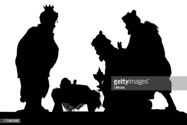 nativity (photographed silhouette) - three wise men stock photos and pictures