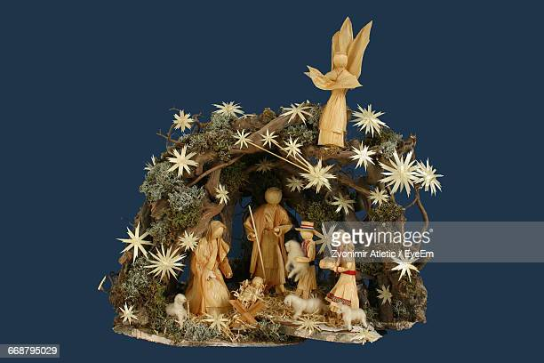 Nativity Scene Against Blue Background