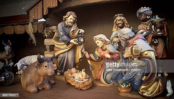 nativity scene at church - nativity stock photos and pictures