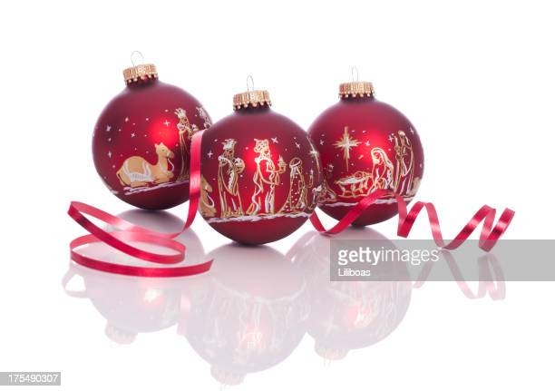 nativity scene baubles - three wise men stock photos and pictures