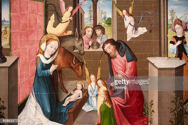 Nativity scene by 'van de Wenemaertriptiek Detail of a triptych painted in Ghent in 1480 Musee des BeauxArts de Gand