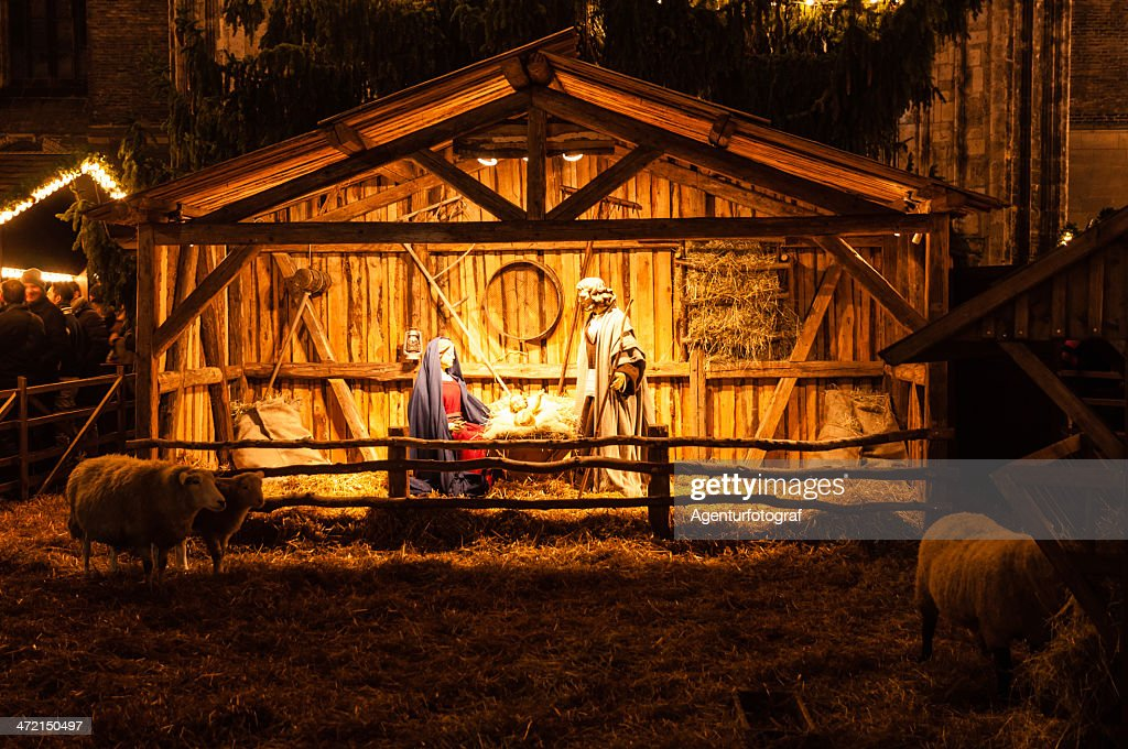 Nativity scene, Christmas market in Ulm. Xmas 2013, Germany : Stock Photo