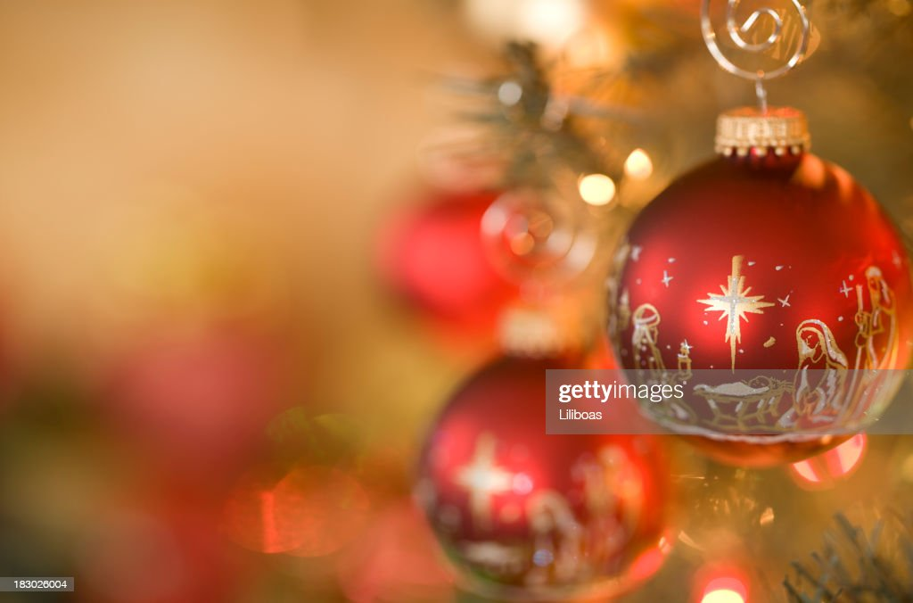 Nativity Scene Christmas Ornaments : Stock Photo