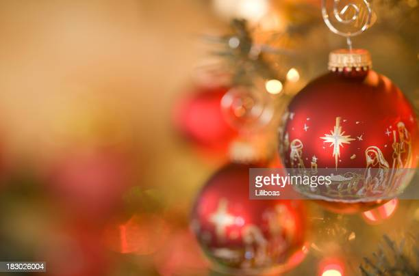 nativity scene christmas ornaments - christmas tree stock pictures, royalty-free photos & images
