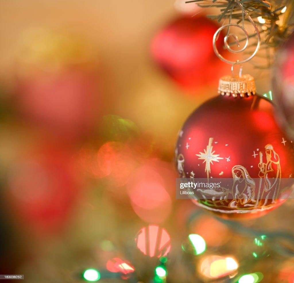 Nativity Scene Christmas Ornaments : Stock Photo
