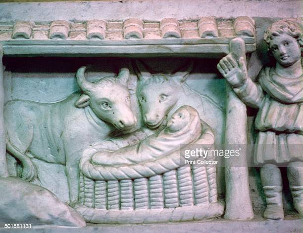 Nativity scene detail of an early Christian Sarcophagus It shows Jesus as the good Shepherd Part of the Vatican Museum's collection