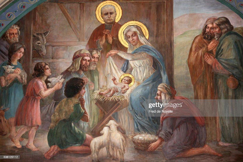 Nativity scene fresco in Saint Joseph des Nations church : Stock Photo