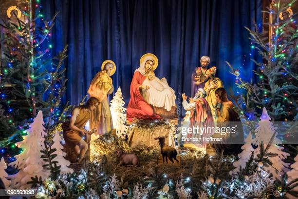 A nativity scene inside St Michael's GoldenDomed Monastery the main church of the new Orthodox Church of Ukraine on January 6 2019 in Kiev Ukraine...