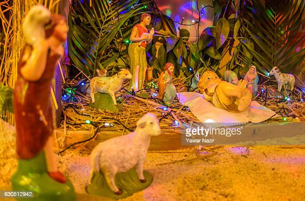 Nativity scene is on display inside the Holy Family Catholic Church during Christmas on December 25 2016 in Srinagar the summer capital of Indian...