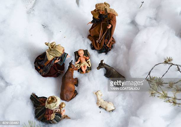 A nativity scene is pictured in Luceram southeastern France on December 11 2016 where each year end villagers traditionally decorate the village in...