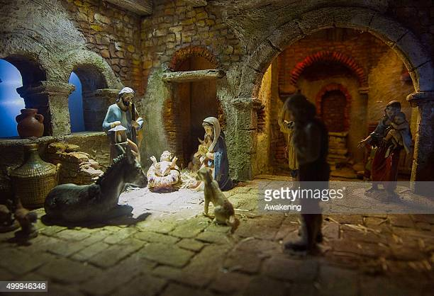 A nativity scene on display at the exhibition of nativity scenes from all over the world inside the passage ways of the Roman Arena on December 4...