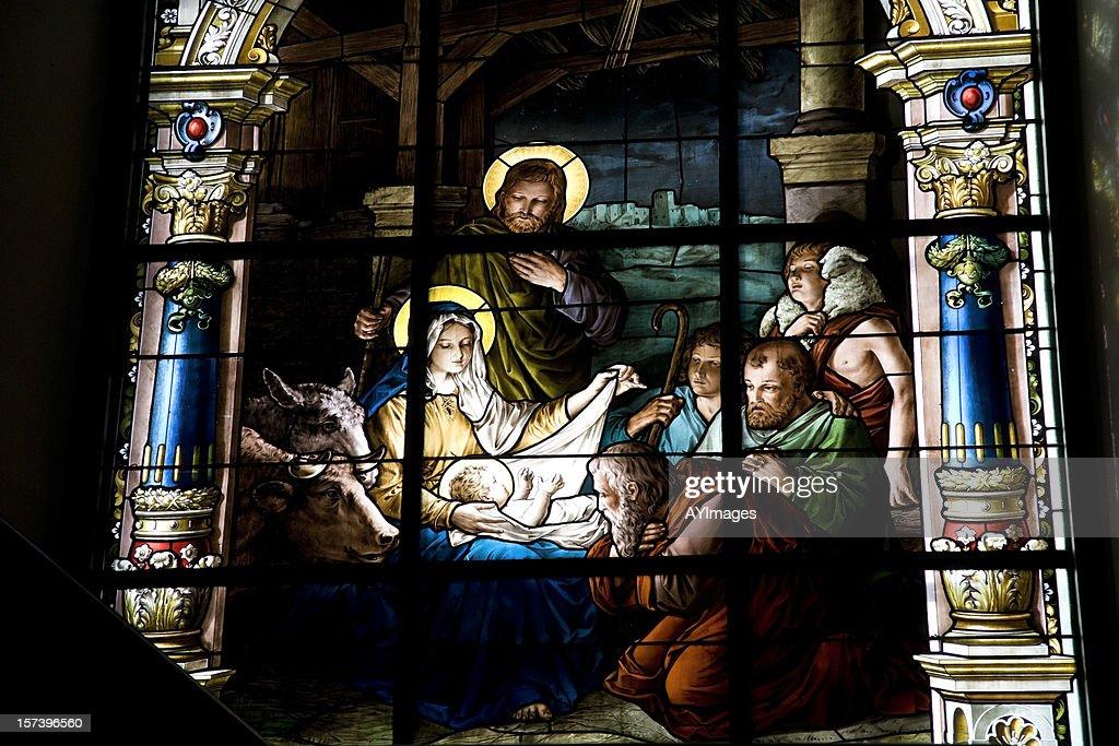 Nativity scene on stained glass window : Stock Photo