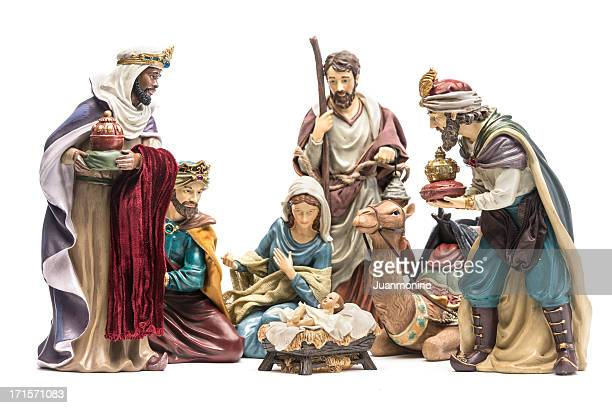 nativity scene - holy family jesus mary and joseph stock photos and pictures