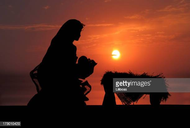 nativity scene (photographed silhouette) - nativity stock photos and pictures