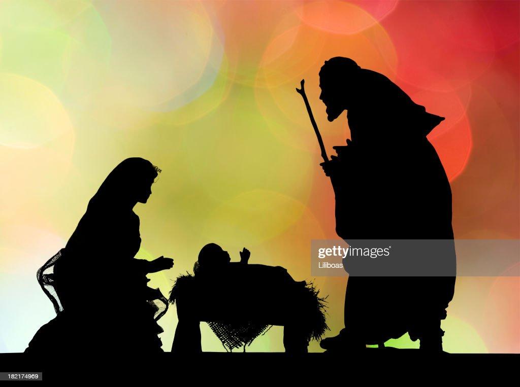 Nativity Scene (Photographed Silhouette) : Stock Photo