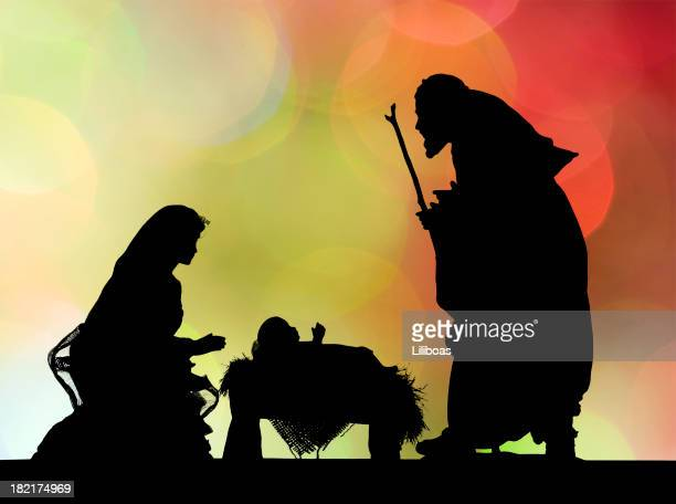 nativity scene (photographed silhouette) - manger stock photos and pictures