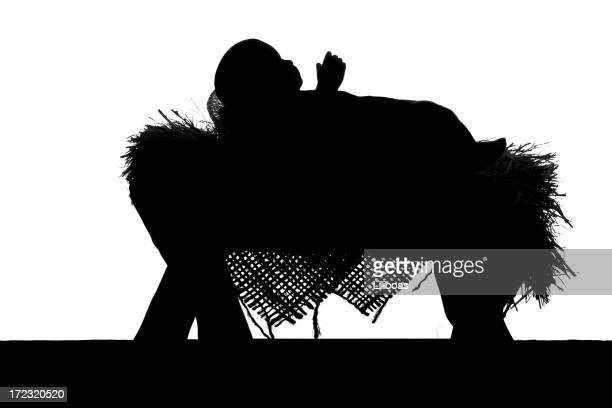 nativity scene silhouette on white - jesus birth stock pictures, royalty-free photos & images