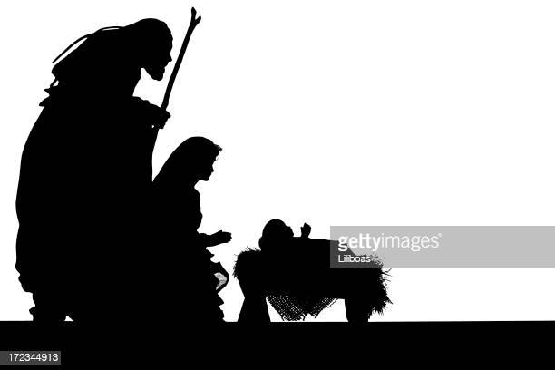 nativity scene silhouette on white - manger stock photos and pictures