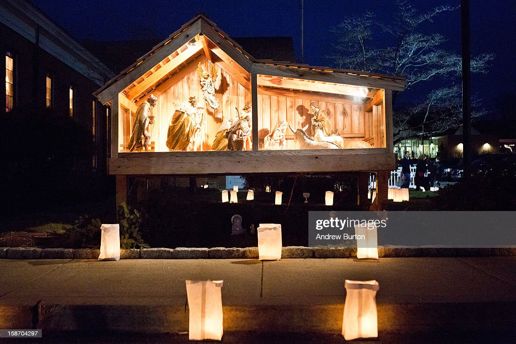 A nativity set is surrounded by lumineers, placed as a memorial for those killed in the school shooting at Sandy Hook Elementary School, on December 24, 2012 in Newtown, Connecticut. Donations and letters are pouring in from across the country as the town tries to recover from the massacre.